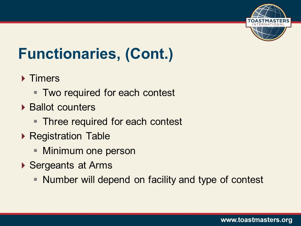 Functionaries, (Cont.) Timers Two required for each contest Ballot counters Three required for each contest Registration Table Minimum one person Serg