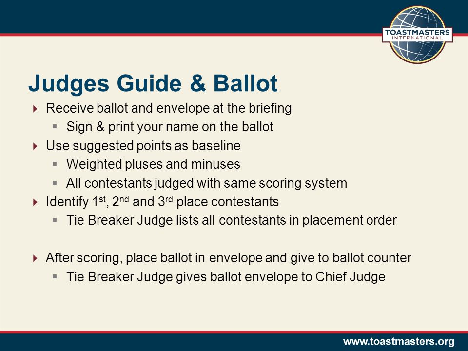Judges Guide & Ballot Receive ballot and envelope at the briefing Sign & print your name on the ballot Use suggested points as baseline Weighted pluses and minuses All contestants judged with same scoring system Identify 1 st, 2 nd and 3 rd place contestants Tie Breaker Judge lists all contestants in placement order After scoring, place ballot in envelope and give to ballot counter Tie Breaker Judge gives ballot envelope to Chief Judge