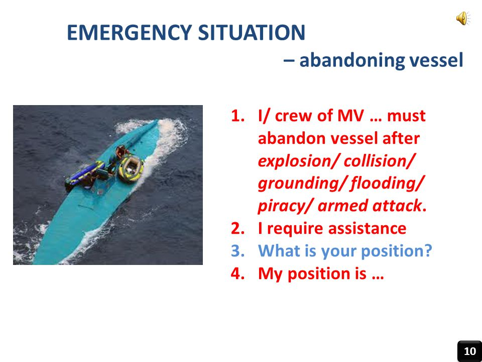 EMERGENCY SITUATION – abandoning vessel 10 1.I/ crew of MV … must abandon vessel after explosion/ collision/ grounding/ flooding/ piracy/ armed attack