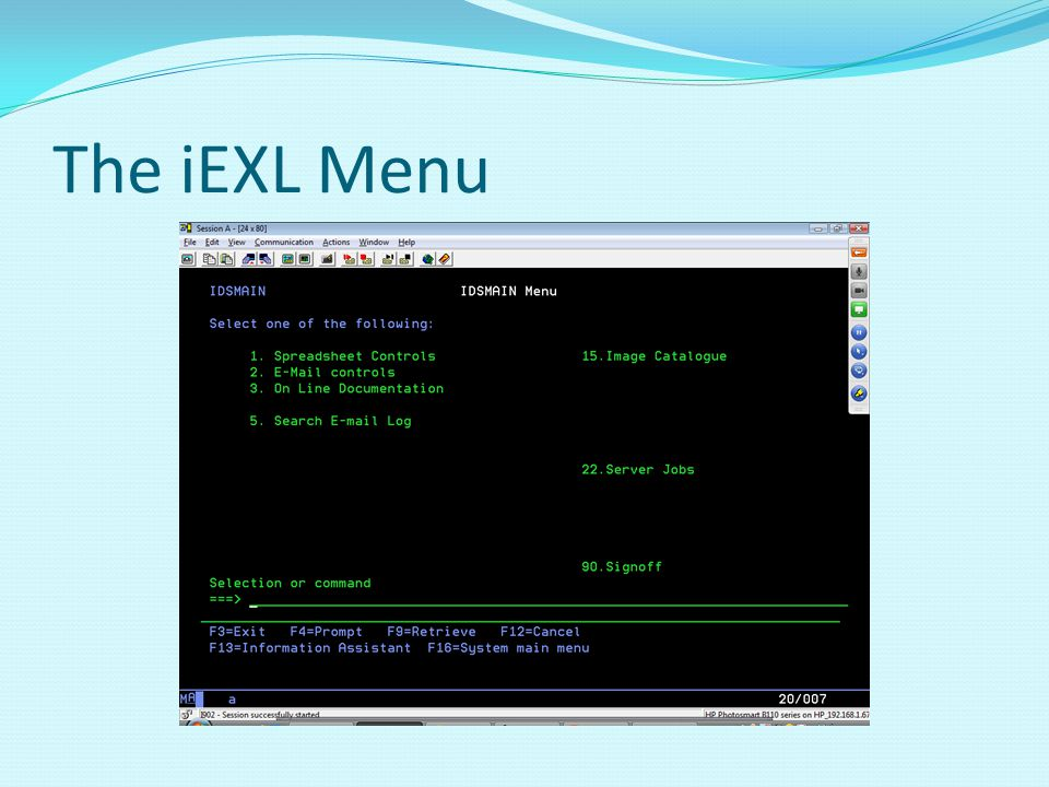 The iEXL Menu Select option 1