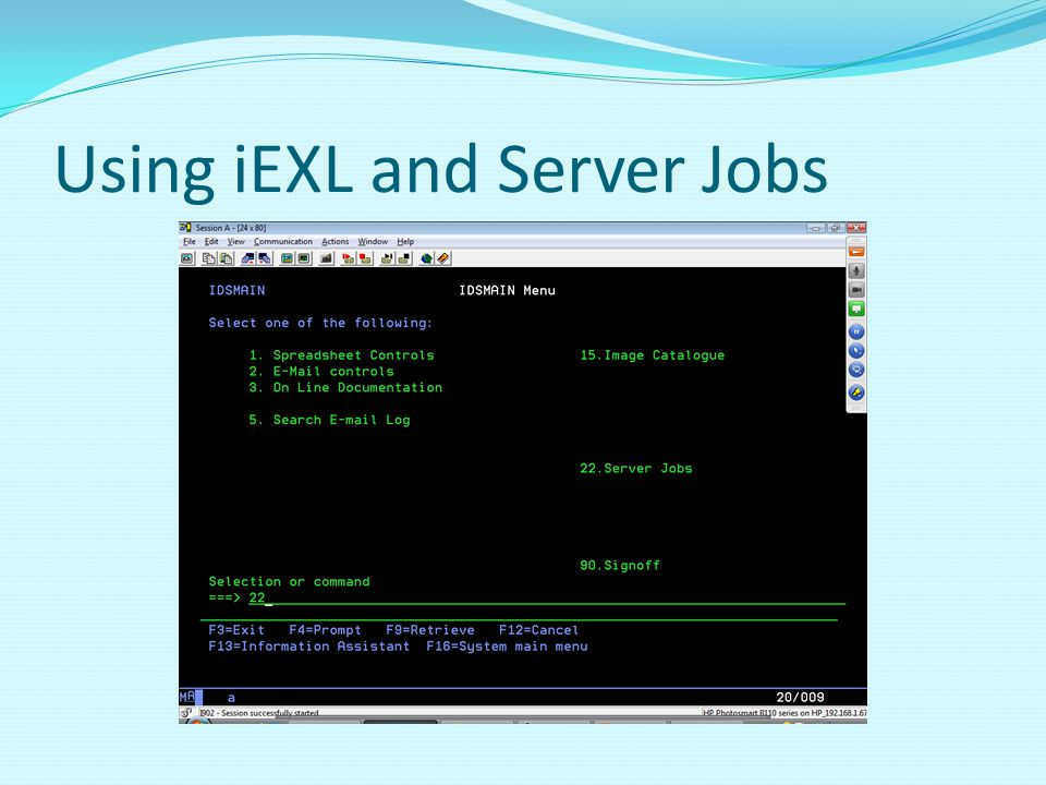Using iEXL and Server Jobs