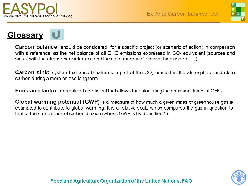 On-line resource materials for policy making Ex-Ante Carbon-balance Tool Food and Agriculture Organization of the United Nations, FAO Glossary On-line