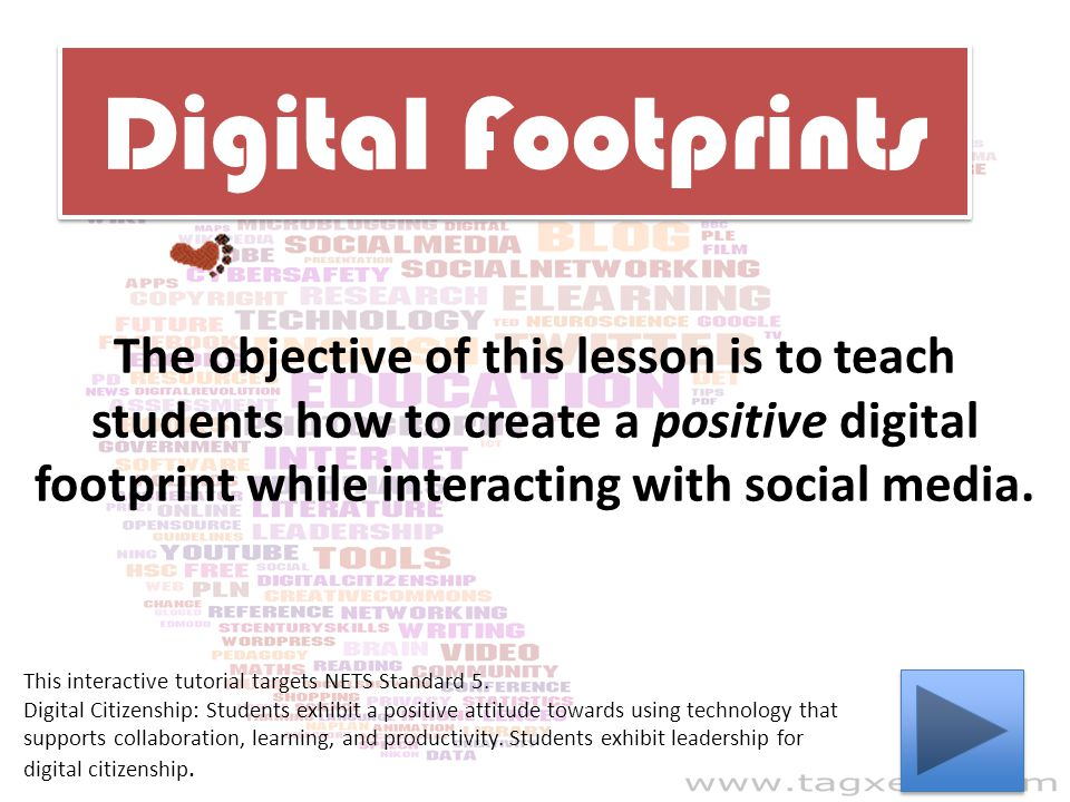 Digital Footprints The objective of this lesson is to teach students how to create a positive digital footprint while interacting with social media.