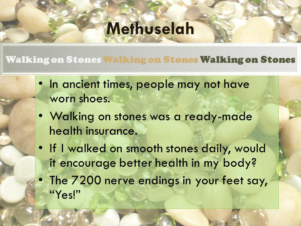 Walking on Stones Creating an atmosphere of well-being in the bodys systems by walking on stonesa theory.