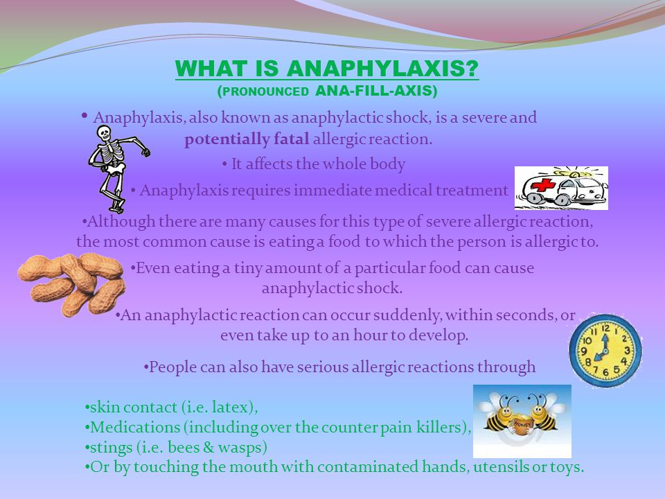 COMMON CAUSES OF ANAPHYLAXIS Allergies can be caused by lots of different things These are known as allergens The following are a list of common allergens Peanuts Fish Eggs Bee stings Tree nuts Shellfish Soya Fruit Sesame Dairy Products Latex Penicillin & other drugs
