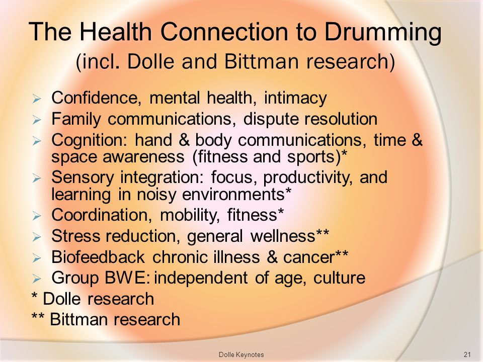 The Health Connection to Drumming (incl. Dolle and Bittman research) Confidence, mental health, intimacy Family communications, dispute resolution Cog
