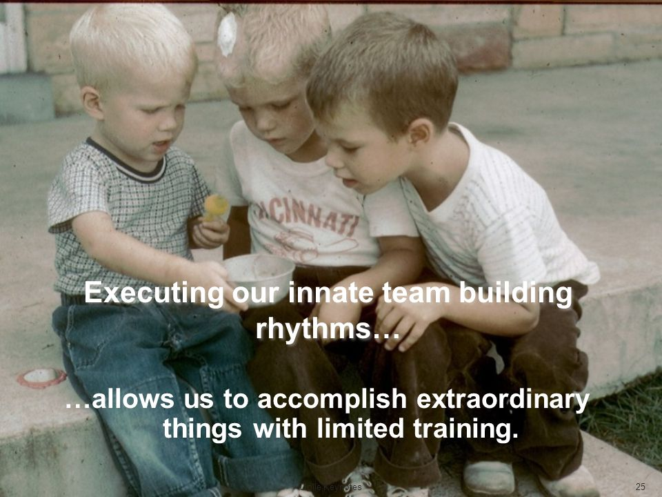 Executing our innate team building rhythms… …allows us to accomplish extraordinary things with limited training. Dolle Keynotes25