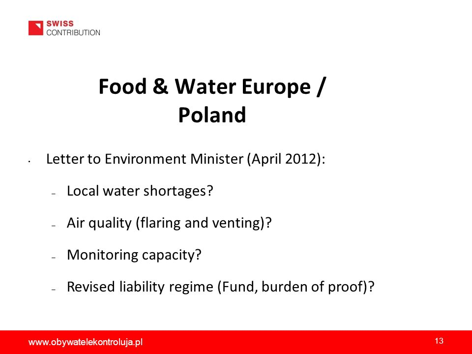 Food & Water Europe / Poland Letter to Environment Minister (April 2012): – Local water shortages.