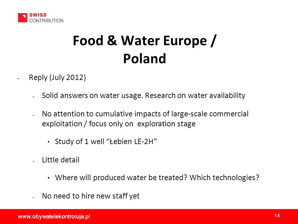 Food & Water Europe / Poland Reply (July 2012) – Solid answers on water usage.