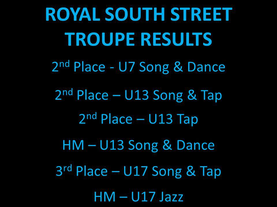 2 nd Place - U7 Song & Dance 2 nd Place – U13 Song & Tap 2 nd Place – U13 Tap HM – U13 Song & Dance 3 rd Place – U17 Song & Tap HM – U17 Jazz ROYAL SO