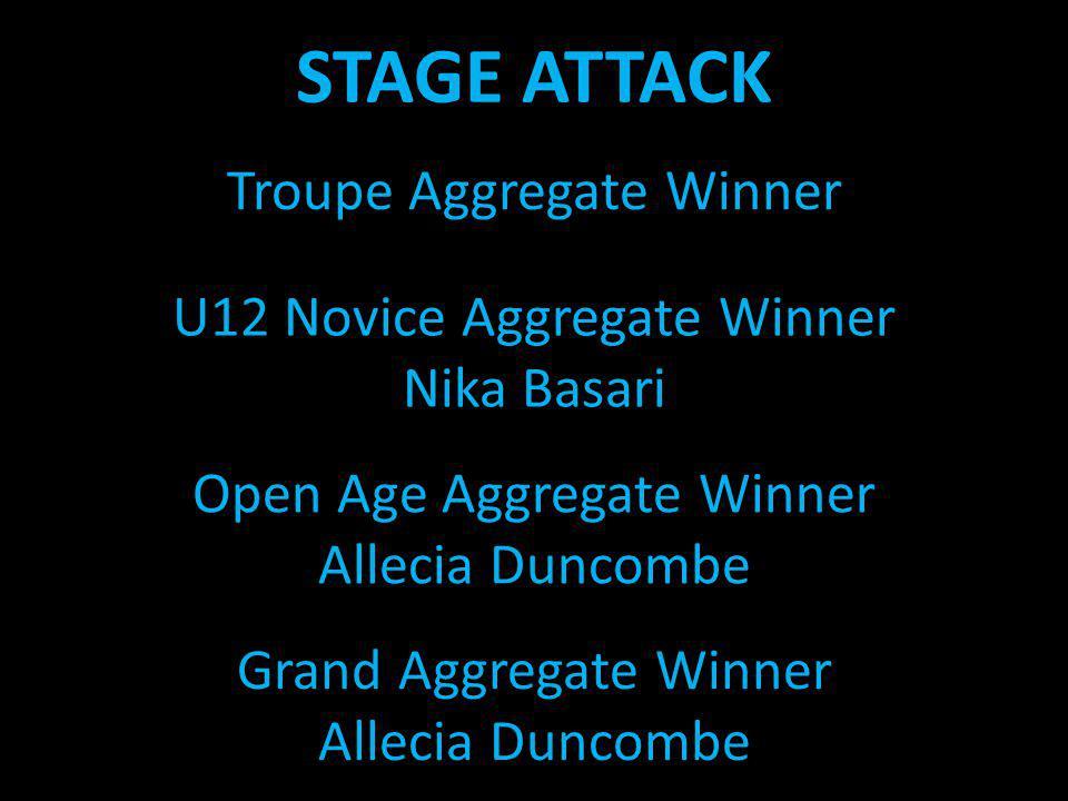 STAGE ATTACK U12 Novice Aggregate Winner Nika Basari Troupe Aggregate Winner Open Age Aggregate Winner Allecia Duncombe Grand Aggregate Winner Allecia