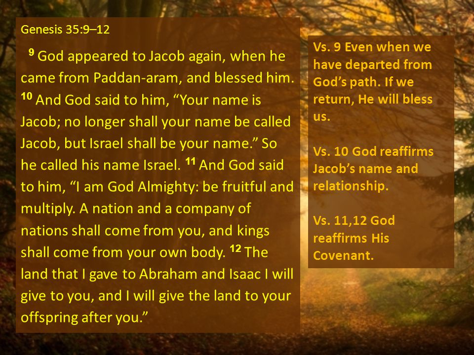 Genesis 35:9–12 9 God appeared to Jacob again, when he came from Paddan-aram, and blessed him.