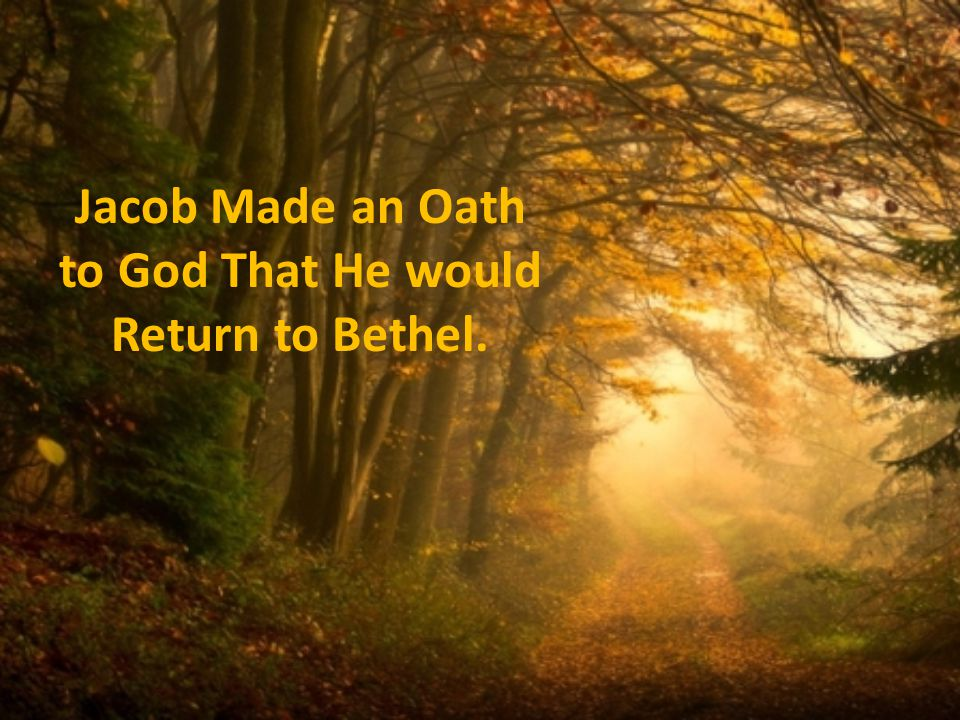 Jacob Made an Oath to God That He would Return to Bethel.
