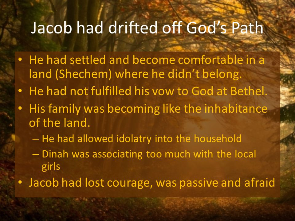 Jacob had drifted off Gods Path He had settled and become comfortable in a land (Shechem) where he didnt belong.
