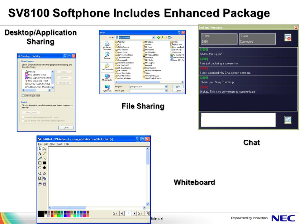 NEC Confidential SV8100 Softphone Includes Enhanced Package File Sharing Whiteboard Desktop/Application Sharing Chat