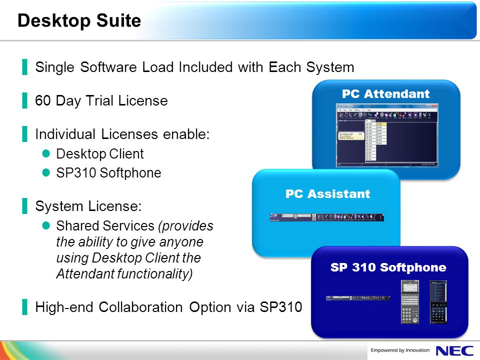 NEC Confidential Desktop Suite Single Software Load Included with Each System 60 Day Trial License Individual Licenses enable: Desktop Client SP310 So