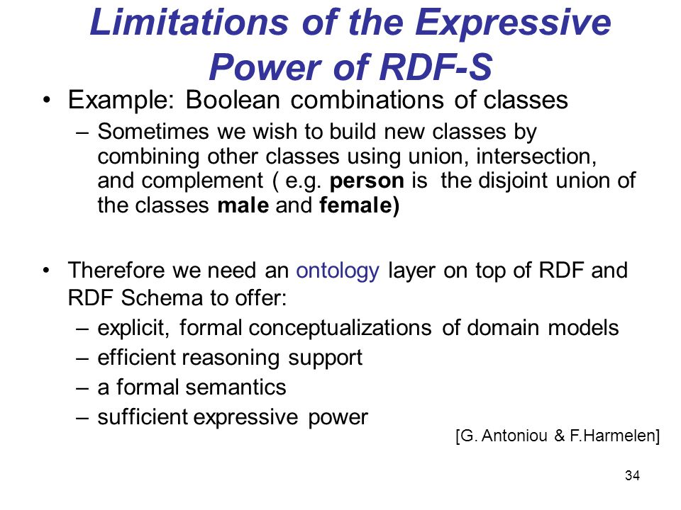 34 Limitations of the Expressive Power of RDF-S Example: Boolean combinations of classes –Sometimes we wish to build new classes by combining other cl