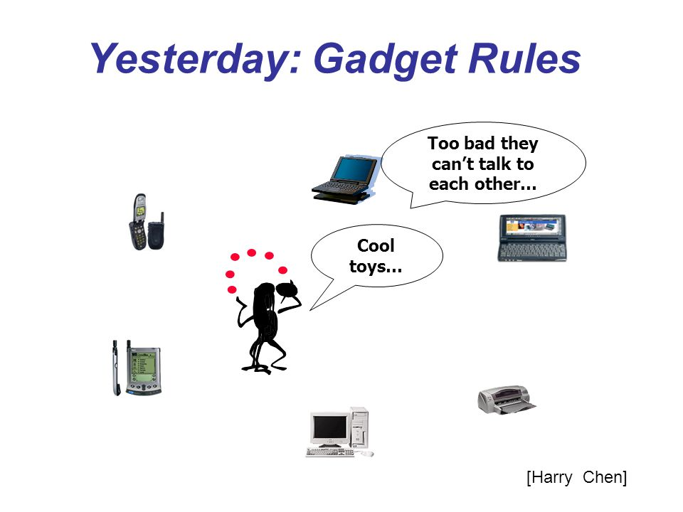 Yesterday: Gadget Rules Cool toys… Too bad they cant talk to each other… [Harry Chen]