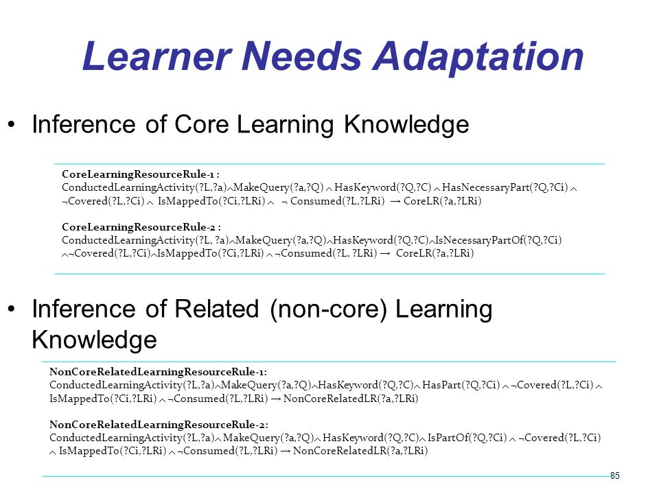 Learner Needs Adaptation Inference of Core Learning Knowledge Inference of Related (non-core) Learning Knowledge 85 CoreLearningResourceRule-1 : Condu