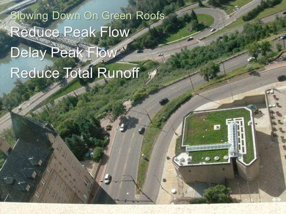 Engage. Innovate. Inspire. Slowing Down On Green Roofs Reduce Peak Flow Delay Peak Flow Reduce Total Runoff