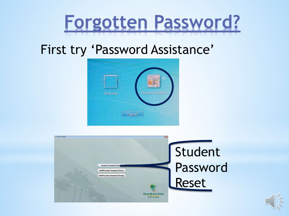 Press CTRL+ALT+DELETE to log on Click Other User Your log on is your student ID or student email address and your PantherWeb pin number