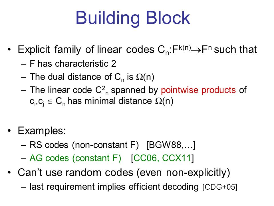 Building Block Explicit family of linear codes C n :F k(n) F n such that –F has characteristic 2 –The dual distance of C n is (n) –The linear code C 2