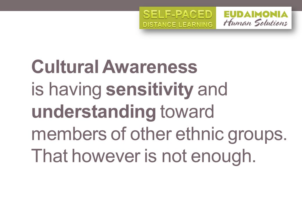 Cultural Awareness is having sensitivity and understanding toward members of other ethnic groups.