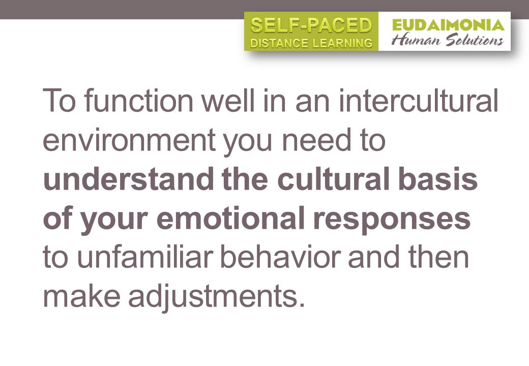 To function well in an intercultural environment you need to understand the cultural basis of your emotional responses to unfamiliar behavior and then