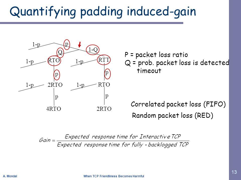 A. Mondal When TCP Friendliness Becomes Harmful 13 Quantifying padding induced-gain RTT RTO 2RTO RTO 2RTO 4RTO 1-p p p p 1-Q p p 1-p Q Correlated pack