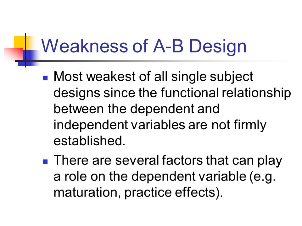 Weakness of A-B Design Most weakest of all single subject designs since the functional relationship between the dependent and independent variables ar