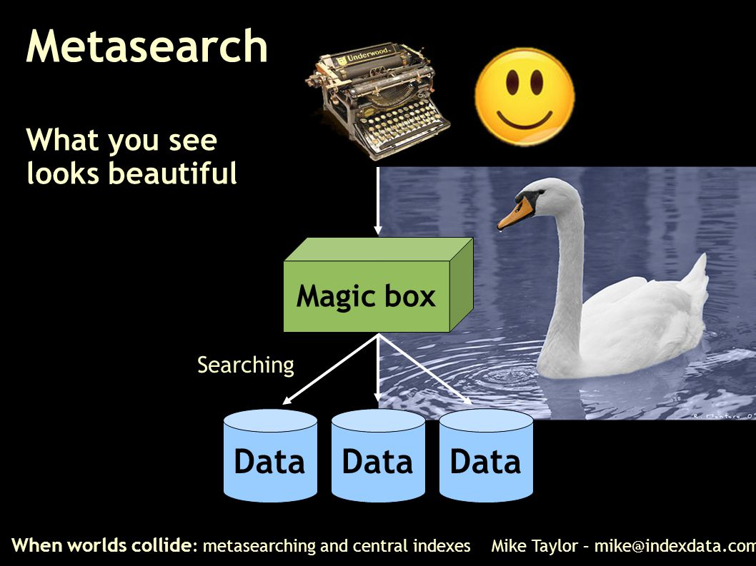 Metasearch What you see looks beautiful When worlds collide : metasearching and central indexes Mike Taylor – mike@indexdata.com Magic box Data Search