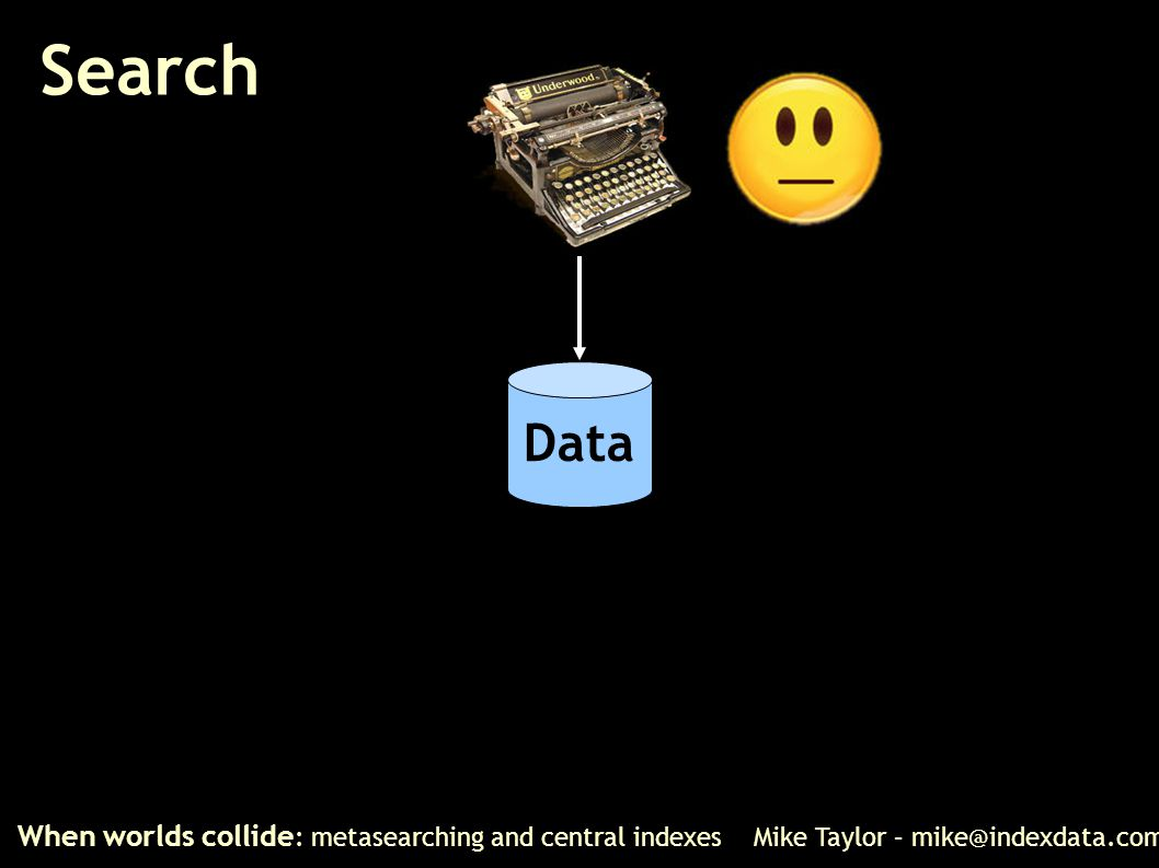 Search When worlds collide : metasearching and central indexes Mike Taylor – mike@indexdata.com Data