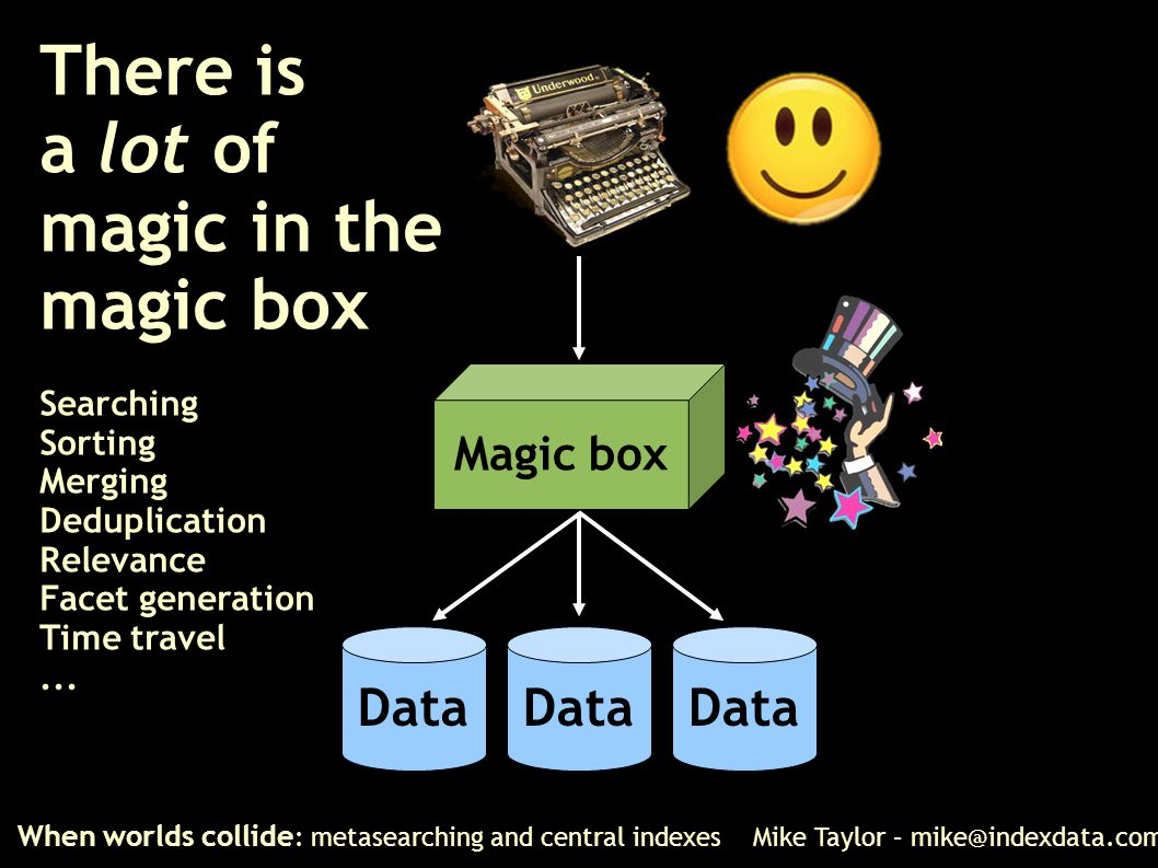 There is a lot of magic in the magic box Searching Sorting Merging Deduplication Relevance Facet generation Time travel... When worlds collide : metas