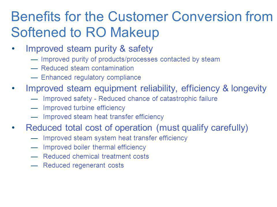 Benefits for the Customer Conversion from Softened to RO Makeup Improved steam purity & safety Improved purity of products/processes contacted by stea