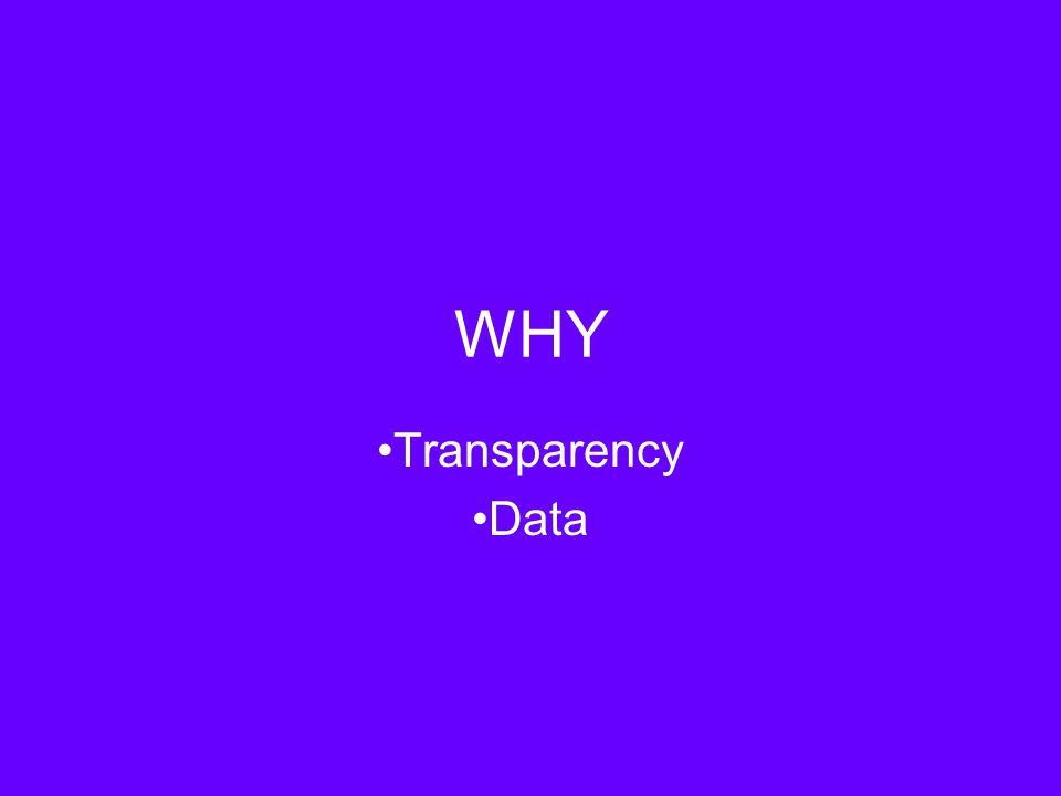 WHY Transparency Data