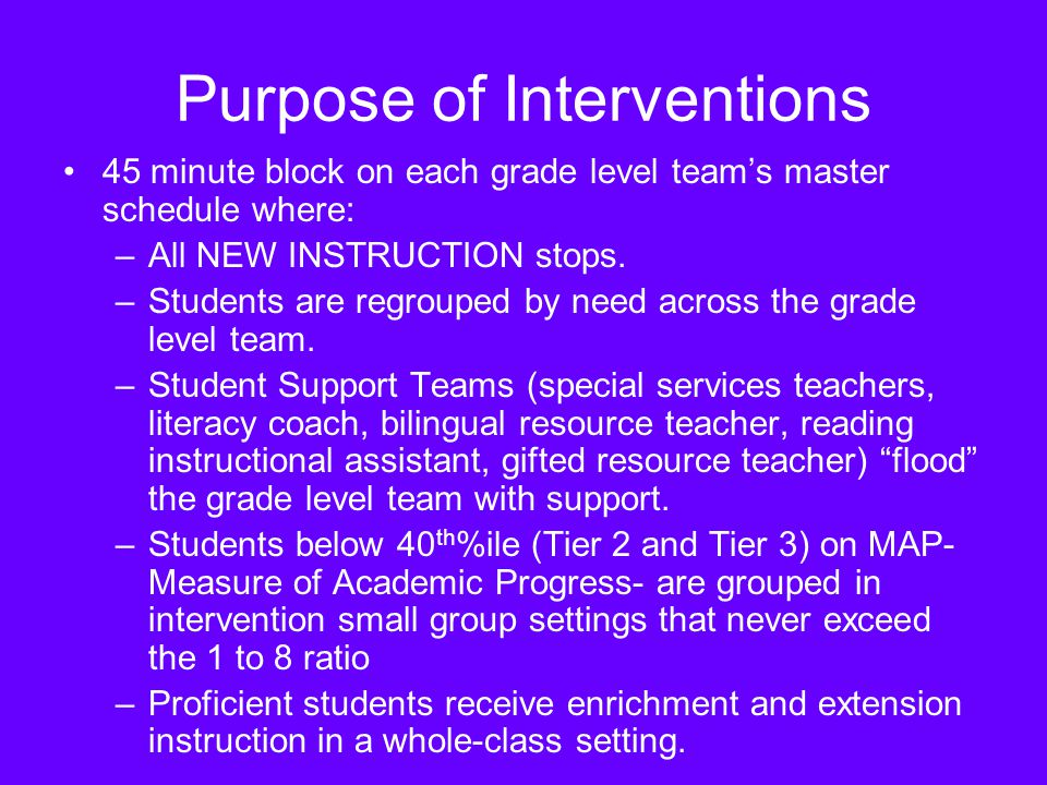 Purpose of Interventions 45 minute block on each grade level teams master schedule where: –All NEW INSTRUCTION stops.