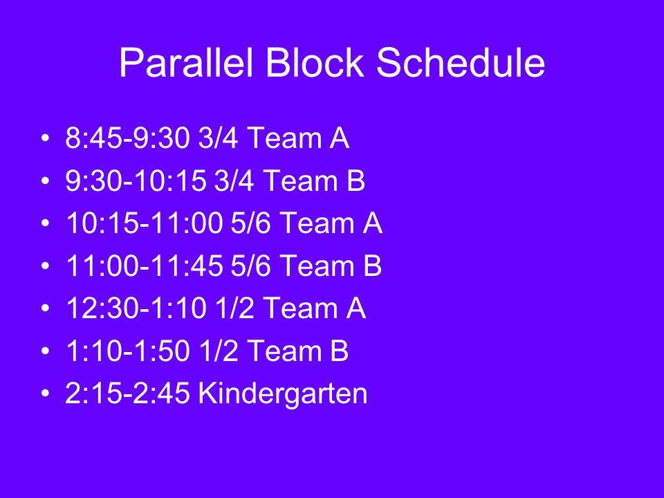 Parallel Block Schedule 8:45-9:30 3/4 Team A 9:30-10:15 3/4 Team B 10:15-11:00 5/6 Team A 11:00-11:45 5/6 Team B 12:30-1:10 1/2 Team A 1:10-1:50 1/2 Team B 2:15-2:45 Kindergarten