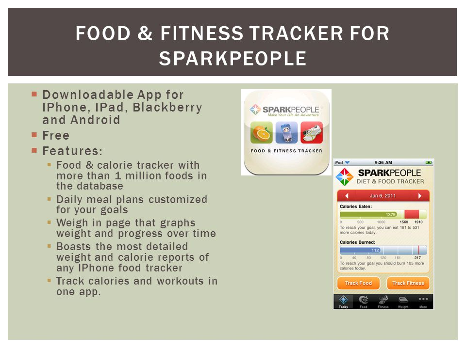 Downloadable App for IPhone, IPad, Blackberry and Android Free Features: Food & calorie tracker with more than 1 million foods in the database Daily meal plans customized for your goals Weigh in page that graphs weight and progress over time Boasts the most detailed weight and calorie reports of any IPhone food tracker Track calories and workouts in one app.