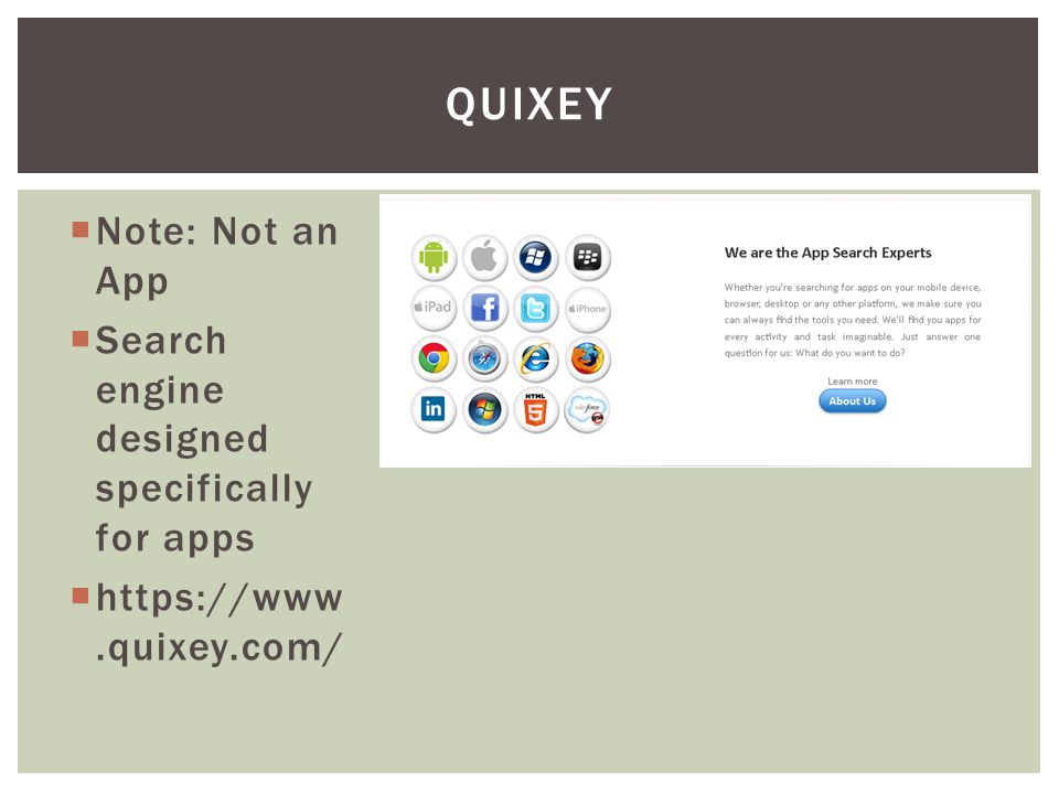 Note: Not an App Search engine designed specifically for apps https://www.quixey.com/ QUIXEY