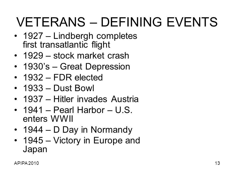 APIPA 201013 VETERANS – DEFINING EVENTS 1927 – Lindbergh completes first transatlantic flight 1929 – stock market crash 1930s – Great Depression 1932