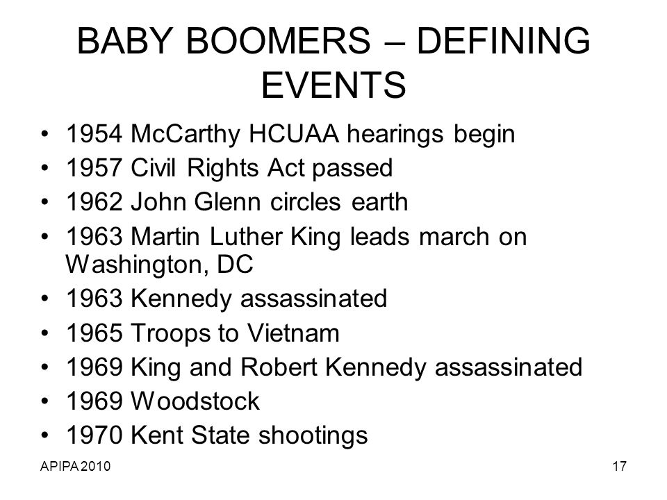 APIPA 201017 BABY BOOMERS – DEFINING EVENTS 1954 McCarthy HCUAA hearings begin 1957 Civil Rights Act passed 1962 John Glenn circles earth 1963 Martin Luther King leads march on Washington, DC 1963 Kennedy assassinated 1965 Troops to Vietnam 1969 King and Robert Kennedy assassinated 1969 Woodstock 1970 Kent State shootings