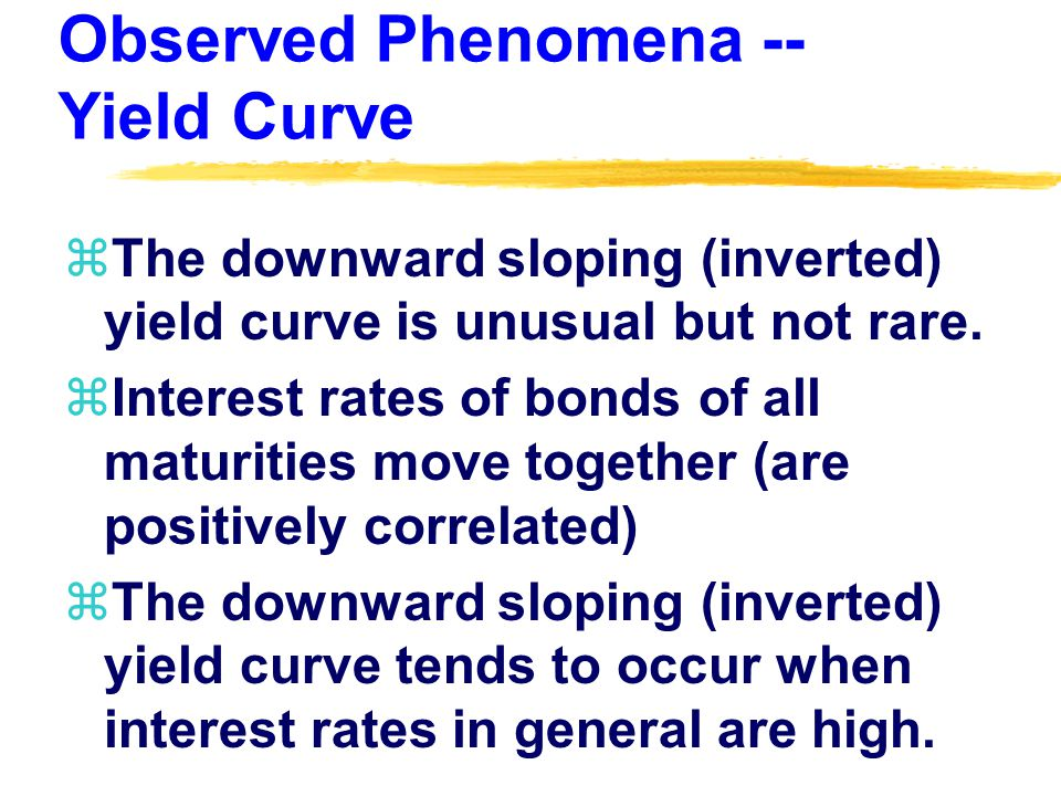 Theories (Hypotheses) Which Explain Yield Curve Behavior zKey difference in assumptions: How close of substitutes are bonds of different maturities.