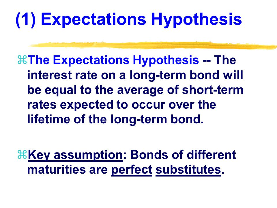 Assessment: Expectations Hypothesis zThe downward sloping (inverted) yield curve is unusual but not rare.