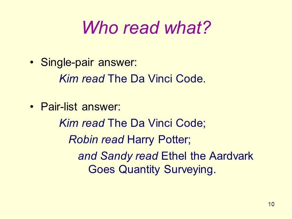 10 Who read what. Single-pair answer: Kim read The Da Vinci Code.