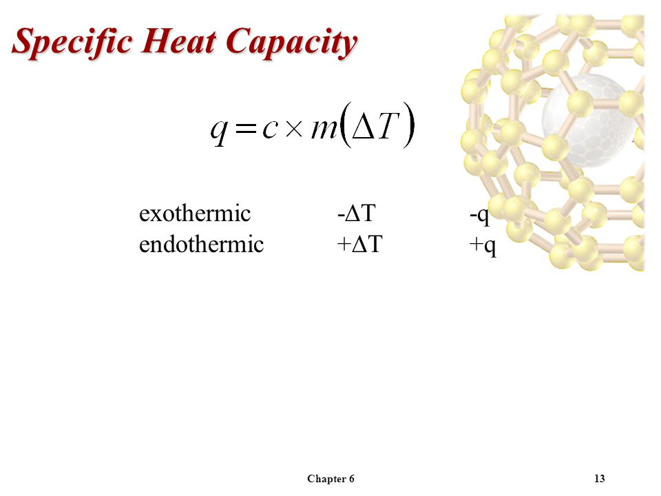 Chapter 613 Specific Heat Capacity exothermic- T-q endothermic+ T+q
