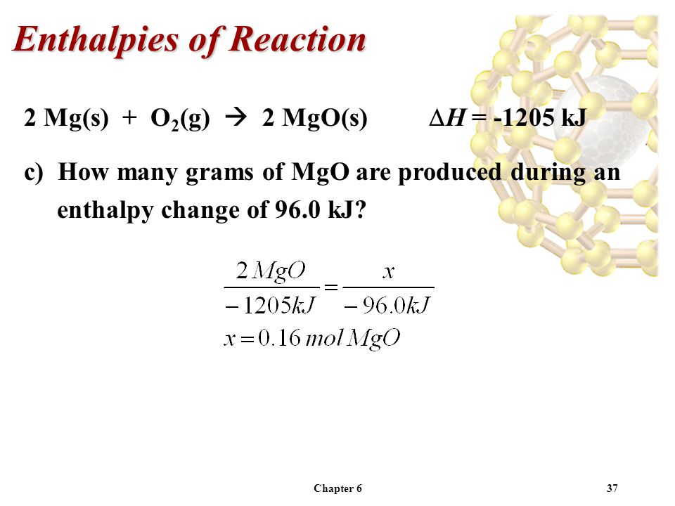 Chapter 637 2 Mg(s) + O 2 (g) 2 MgO(s) H = -1205 kJ c) How many grams of MgO are produced during an enthalpy change of 96.0 kJ? Enthalpies of Reaction