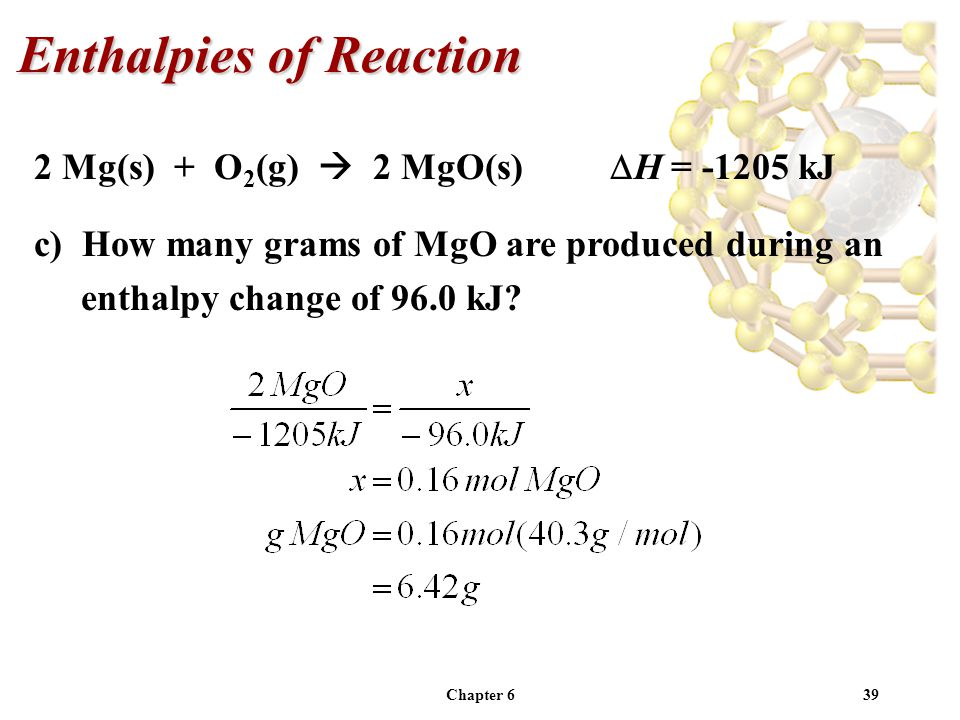 Chapter 639 2 Mg(s) + O 2 (g) 2 MgO(s) H = -1205 kJ c) How many grams of MgO are produced during an enthalpy change of 96.0 kJ? Enthalpies of Reaction