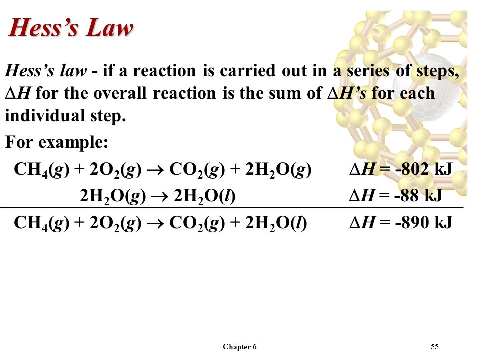 Chapter 655 Hesss law - if a reaction is carried out in a series of steps, H for the overall reaction is the sum of Hs for each individual step. For e