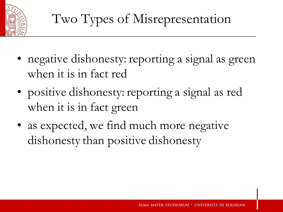 Two Types of Misrepresentation negative dishonesty: reporting a signal as green when it is in fact red positive dishonesty: reporting a signal as red when it is in fact green as expected, we find much more negative dishonesty than positive dishonesty