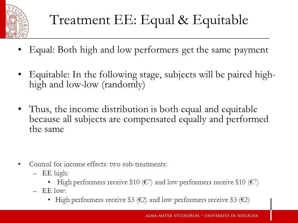 Treatment EE: Equal & Equitable Equal: Both high and low performers get the same payment Equitable: In the following stage, subjects will be paired high- high and low-low (randomly) Thus, the income distribution is both equal and equitable because all subjects are compensated equally and performed the same Control for income effects: two sub-treatments: –EE high: High performers receive $10 (7) and low performers receive $10 (7) –EE low: High performers receive $3 (2) and low performers receive $3 (2)